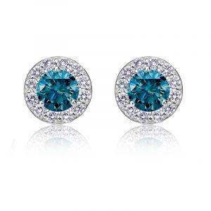 Blue 1ct. t.w. Diamond Halo Stud Earrings in 14k White Gold