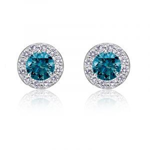 Brilliant-Cut ¼ct. Blue Diamond Halo Stud Earrings in 14k White Gold