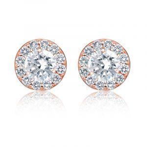 Brilliant-Cut 2ct. t.w. Diamond Halo Stud Earrings in 14k Rose Gold