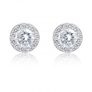 Diamond 1ct. t.w. Halo Stud Earrings in 14k White Gld