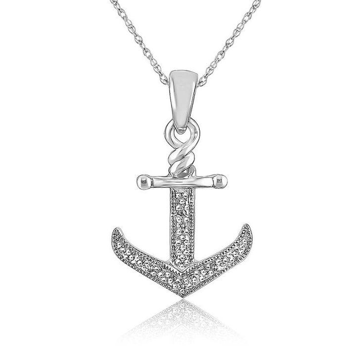 Diamond Anchor Pendant in 10k White Gold