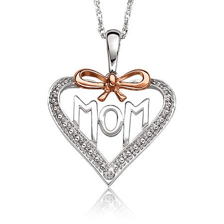 Diamond Heart 'Mom' Pendant with Rose Plated Bow