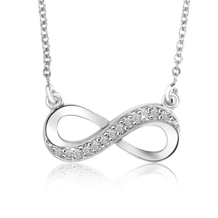 Diamond Infinity Necklace in Sterling Silver