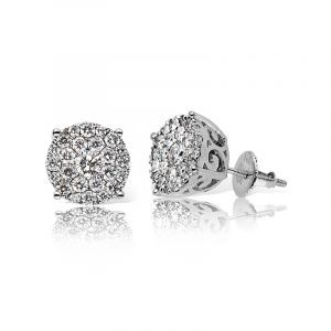 Diamond Round Cluster Stud 1 1/2ctw Earrings in 14k White Gold