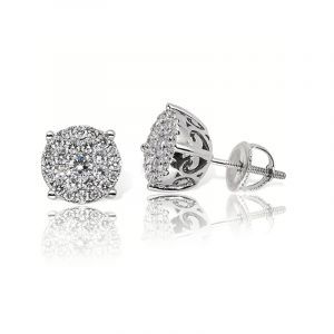 Diamond Round Cluster Stud 1ctw Earrings in 14k White Gold