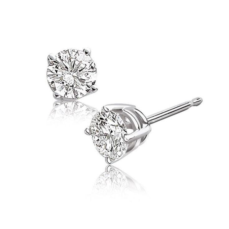 Brilliant-Cut Diamond Solitaire Earrings 1/3ct. T.W.