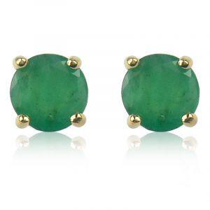 Emerald Brilliant-Cut Stud Earrings in Yellow Gold