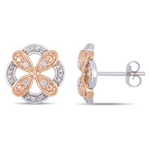 Everly Diamond Flower Petal Fashion Stud Earrings in 10k White & Rose Gold