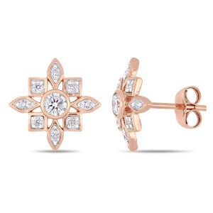 Everly Floral-Inspired 1/3ctw. Diamond Stud Earrings in 10k Rose Gold
