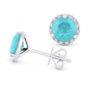 Fiji Blue Teal Spinel Gemstone & Diamond Halo Stud Earrings