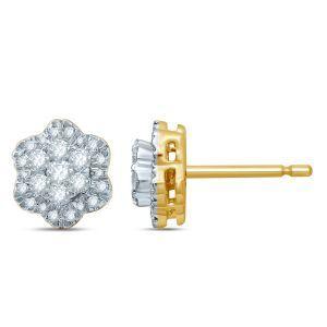Flower 1/2ctw. Diamond Cluster Fashion Stud Earrings in 10k Yellow Gold
