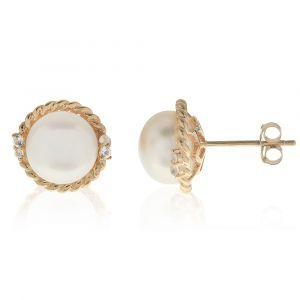 Freshwater Pearl & Crystal Button Stud Earrings