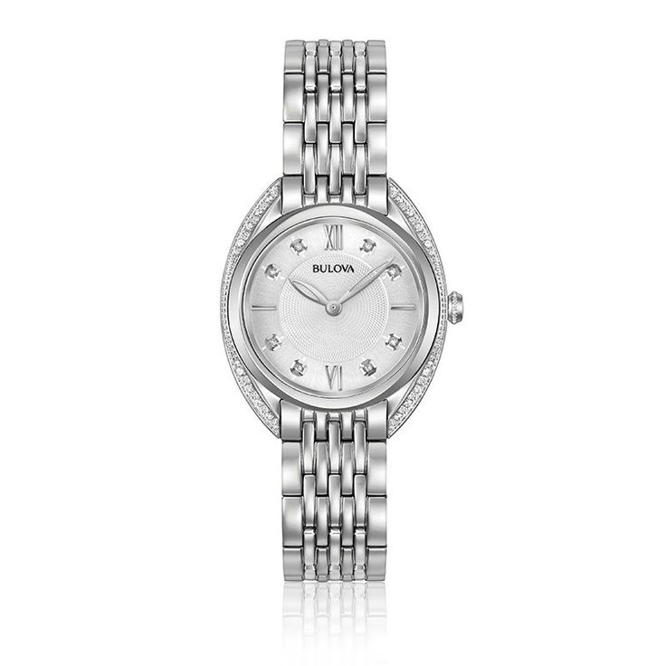 From the Ladies' Diamonds Collection. New contoured case in stainless steel, 2...