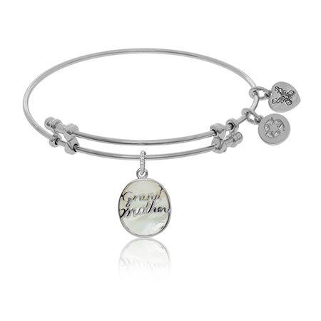 Grandmother Script Charm Bangle Bracelet in White Brass