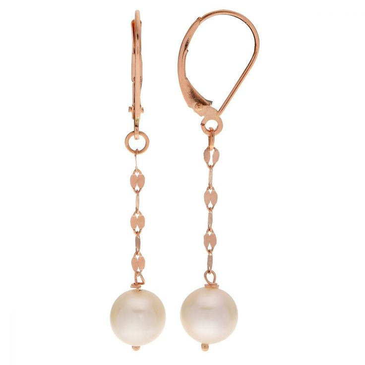 Imperial Freshwater Pearl Dangle Earrings in 14k Rose Gold