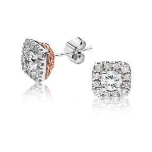 JK Crown: Diamond Halo Stud Earrings in 14k White Gold