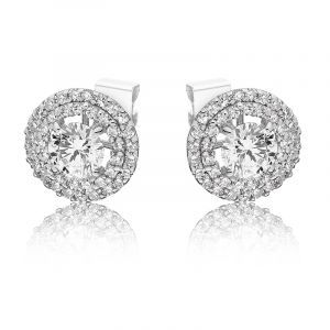 Lab Grown Double Halo Round Diamond Stud Earrings in 14k White Gold
