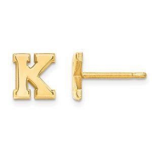 Laser Polished Initial 2 Letter Post Earrings in Gold Plated Sterling Silver