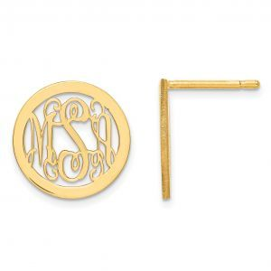 Laser Polished Small Monogram Circle Post Earrings in Gold Plated Sterling Silve...