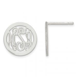 Laser Polished Small Monogram Circle Post Earrings in Sterling Silver (up to 3 l...