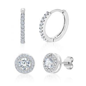 Lesa Michele Cubic Zirconia Halo Stud and Huggie Hoop Duo Earring Set in Sterlin...
