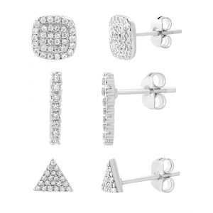 Lesa Michele Cubic Zirconia Pavé Square, Bar & Triangle Stud Trio Earring Set i...