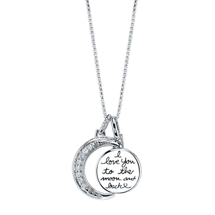Love You To The Moon & Back Script Diamond Pendant in Sterling Silver