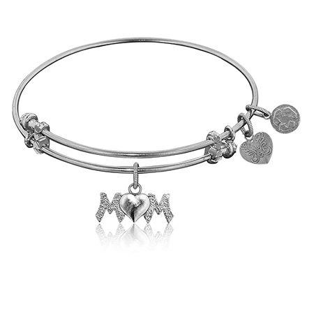 M♥M Charm Bangle Bracelet in White Brass