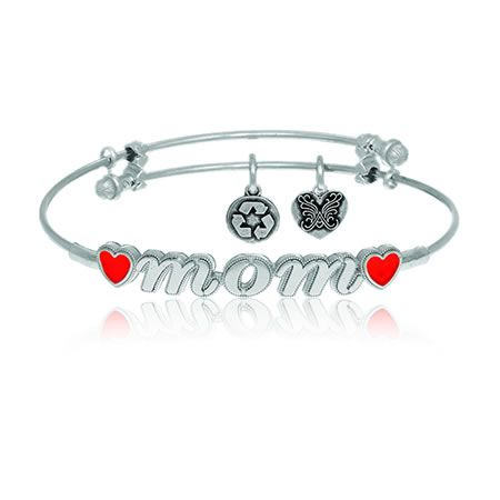 MOM & Red Hearts Charm Bangle Bracelet in White Brass