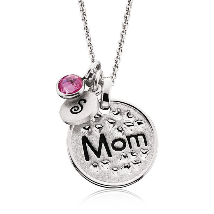 Mom & Floral Hearts Mommy Chic Pendant in Sterling Silver