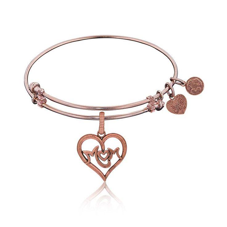 Mom Heart Charm Bangle Bracelet in Pink Brass