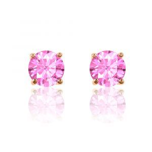 Pink Sapphire Round Stud Earrings in 10k Rose Gold