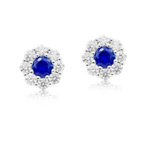 Sapphire & Diamond Halo Stud Earrings in 18k White Gold