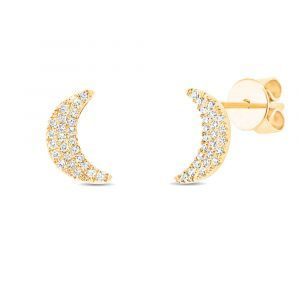 Shy Creation: Crescent Moon Stud Earrings in 14k Yellow Gold