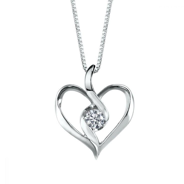 Sirena Diamond Heart Pendant in 10k White Gold