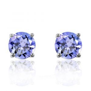 Tanzanite Round 4-Prong Stud Earrings in White Gold