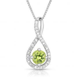 This peridot infinity design drop pendant features a genuine round gemstone cent...