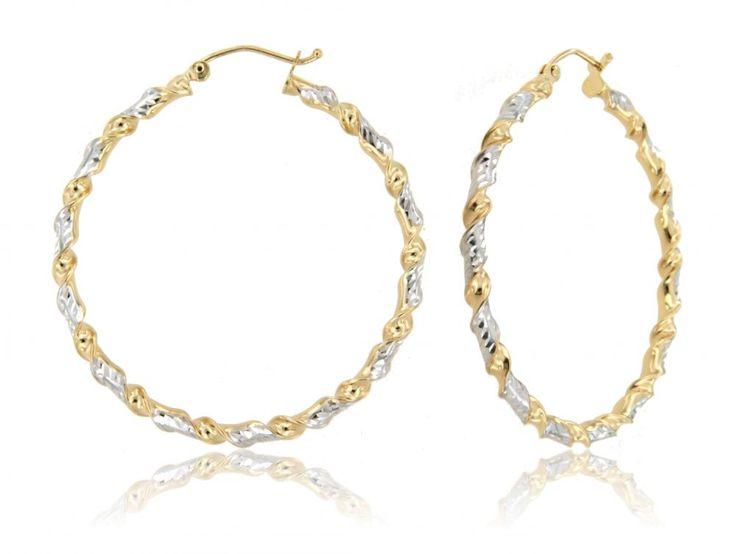 Tri-Color Twist Design Hoop Earrings in 14k Gold