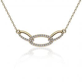 Triple Oval Diamond Link Fashion Necklace in 10k Yellow Gold