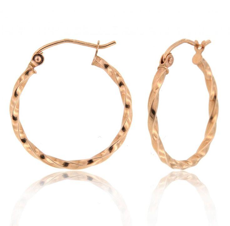 Twist Hoop Earrings in 14k Rose Gold