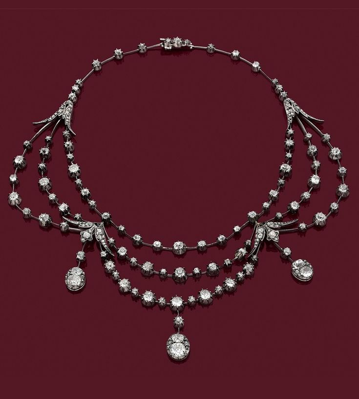 A Belle Epoque gold, silver and diamond necklace, circa 1880.