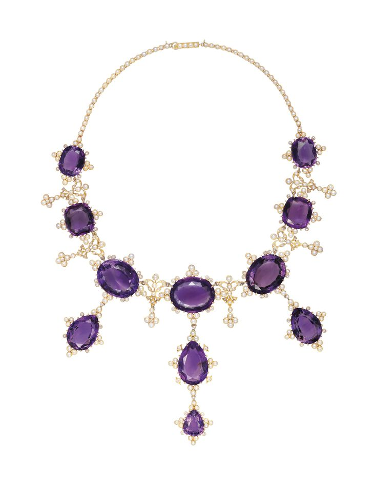 ANTIQUE AMETHYST, SEED PEARL AND DIAMOND NECKLACE   necklace, amethyst   Christi...
