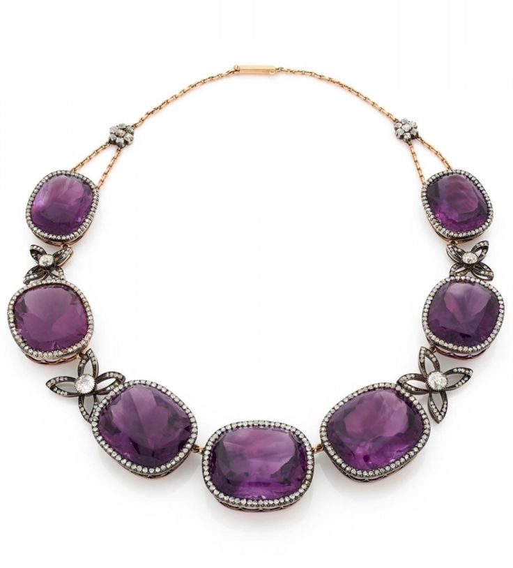 An antique silver, gold alloy, amethyst and rose-cut diamond necklace, probably ...
