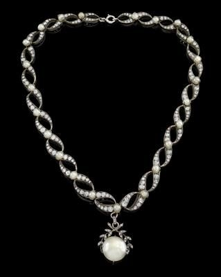 Diamant Kulturperlen Collier aus altem Europäischen Adelsbesitz