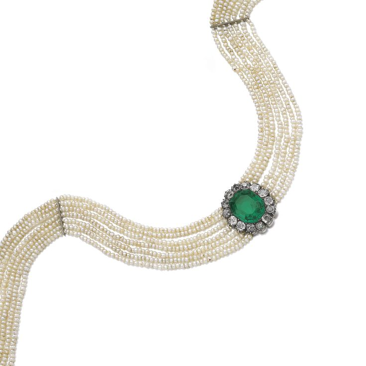 PROPERTY OF A EUROPEAN NOBLE FAMILY: Emerald, seed pearl and diamond choker, lat...