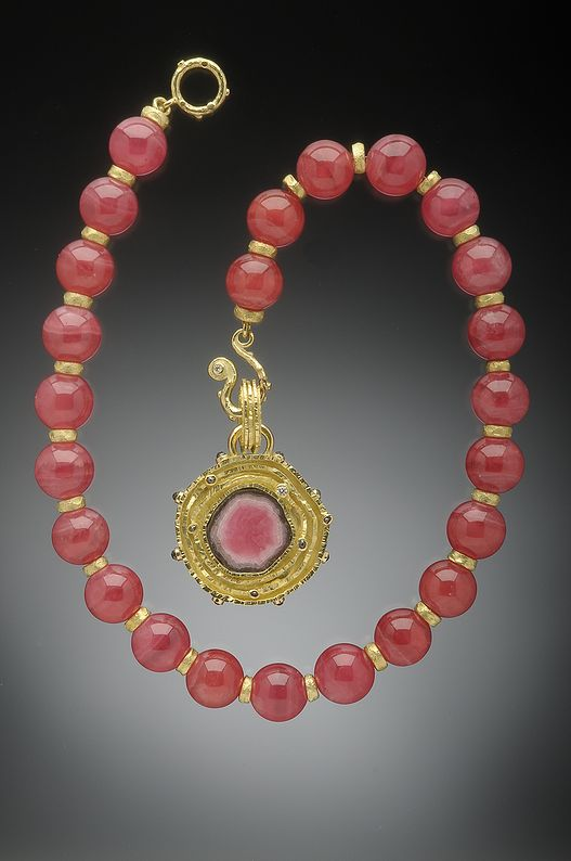Rhodochrosite Bead Necklace and 18K Gold Rhodochrosite Slice Pendant Studded wit...