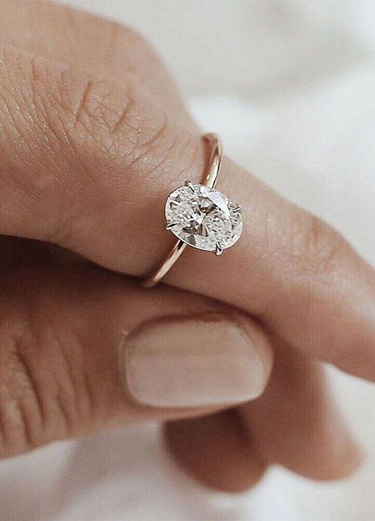 Simple and minimalist Oval diamond cut diamond engagement ring tear drop engagem...