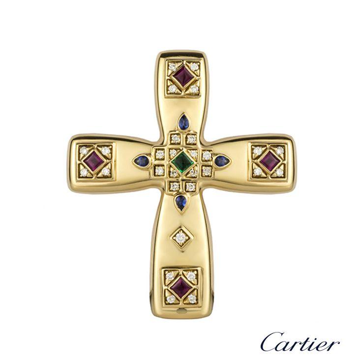 Cartier 18k Yellow Gold Multi Stone Byzantine Cross Pendant Brooch