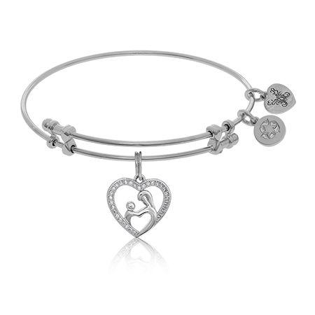 A Mother's Embrace Crystal Heart Charm Bangle Bracelet in White Brass