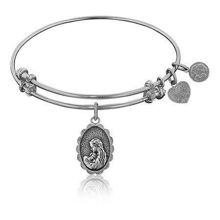 A Mother's Love Charm Bangle in White Brass